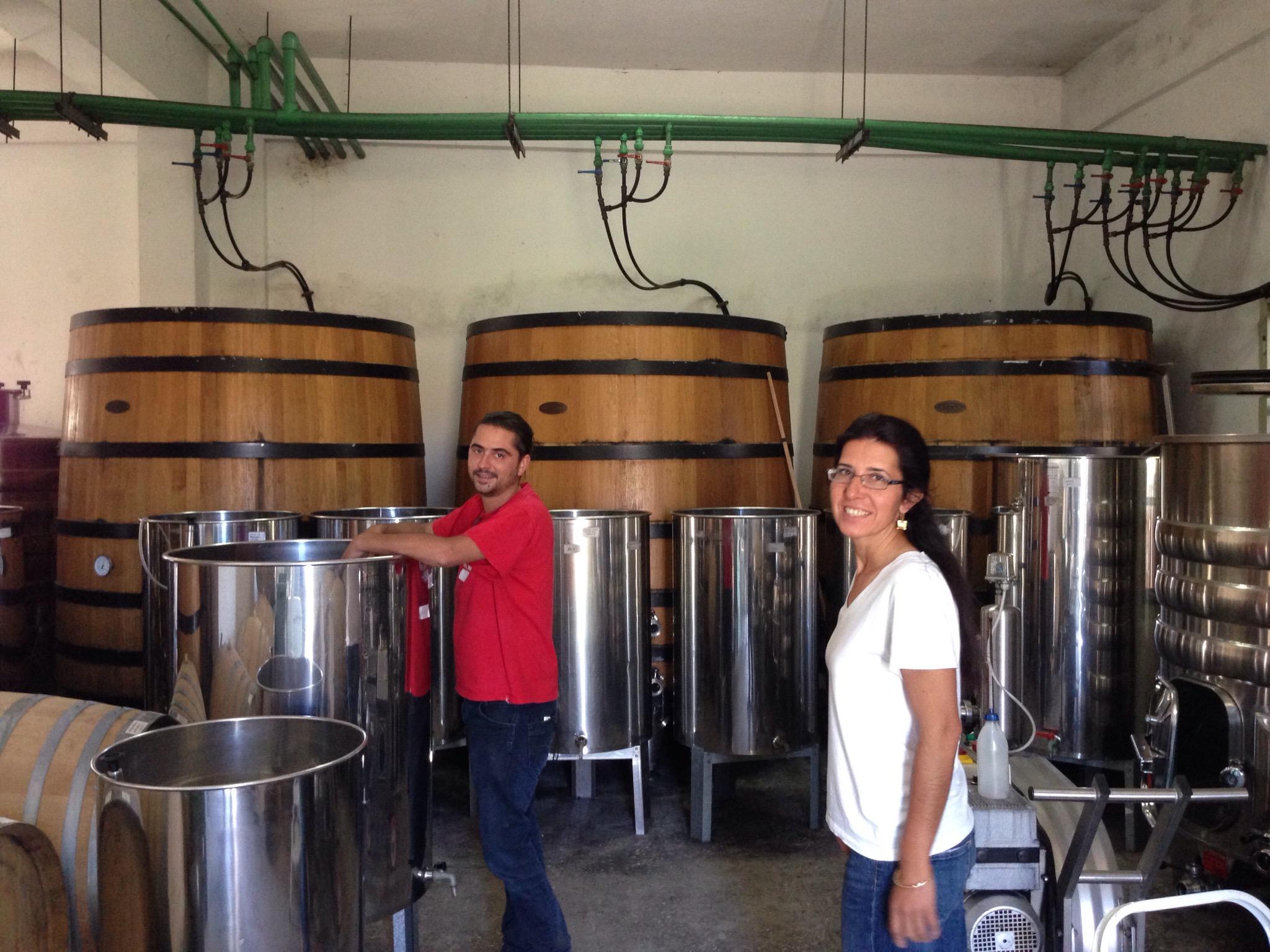 Winemakers Spyros Zoumboulis and Helena Alevra